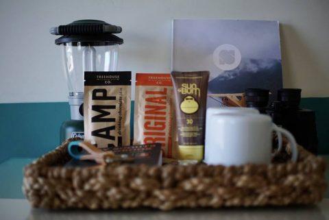 snacks, cups, coffeemaker